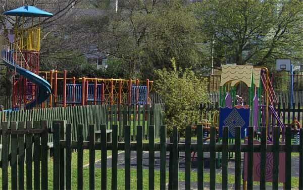 Childrens play area. The Cleeve, Porlock, Exmoor.